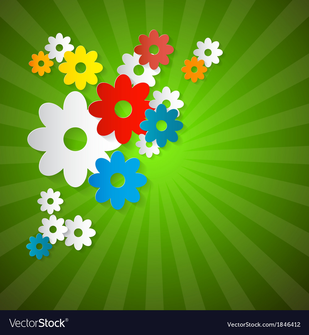 Abstract flowers cut from paper on green vector | Price: 1 Credit (USD $1)