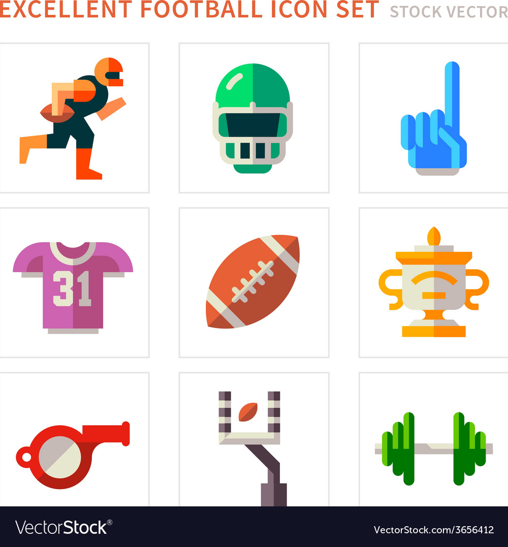 American football flat icons vector | Price: 1 Credit (USD $1)
