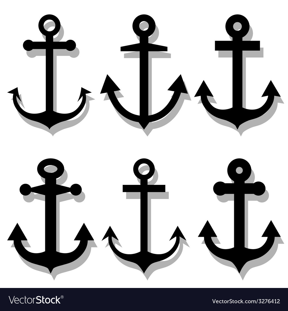 Anchor silhouettes set vector | Price: 1 Credit (USD $1)