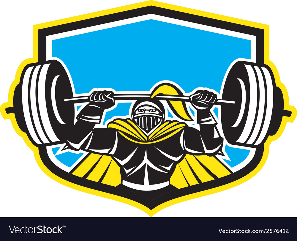 Black knight lifting barbell front shield retro vector | Price: 1 Credit (USD $1)