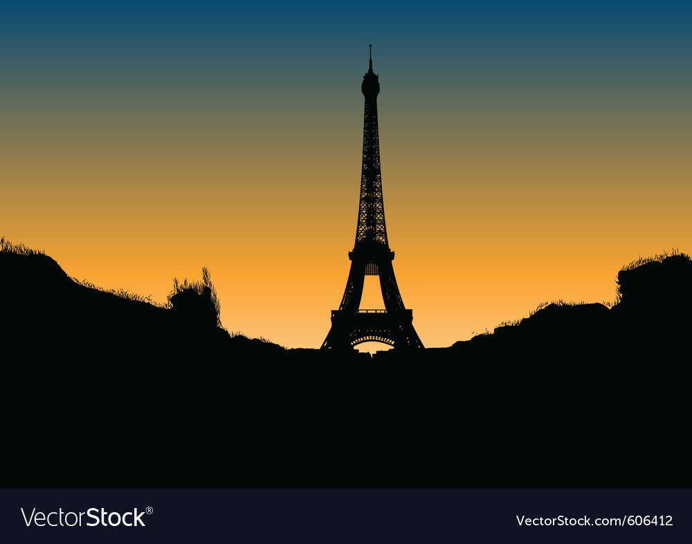 Black silhouette of eiffel tower vector | Price: 1 Credit (USD $1)