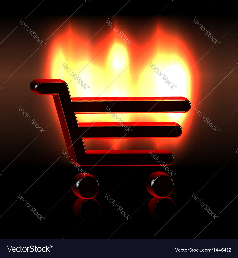 Burning shopping basket icon vector | Price:  Credit (USD $)