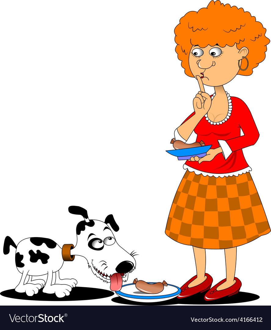 Cartoon dog eating vector | Price: 1 Credit (USD $1)
