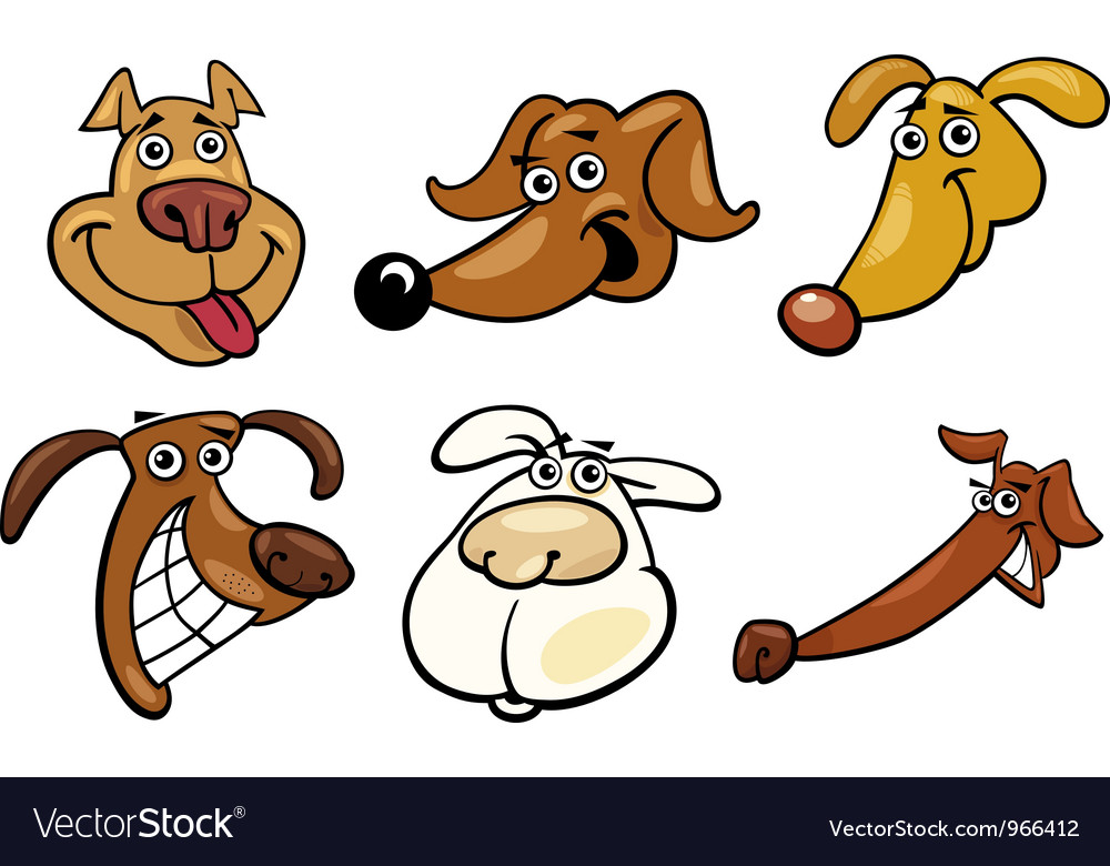 Cartoon funny dogs heads set vector | Price: 3 Credit (USD $3)