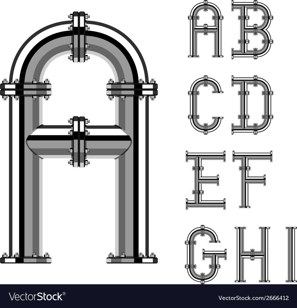 Chrome pipe alphabet letters part 1 vector | Price: 1 Credit (USD $1)