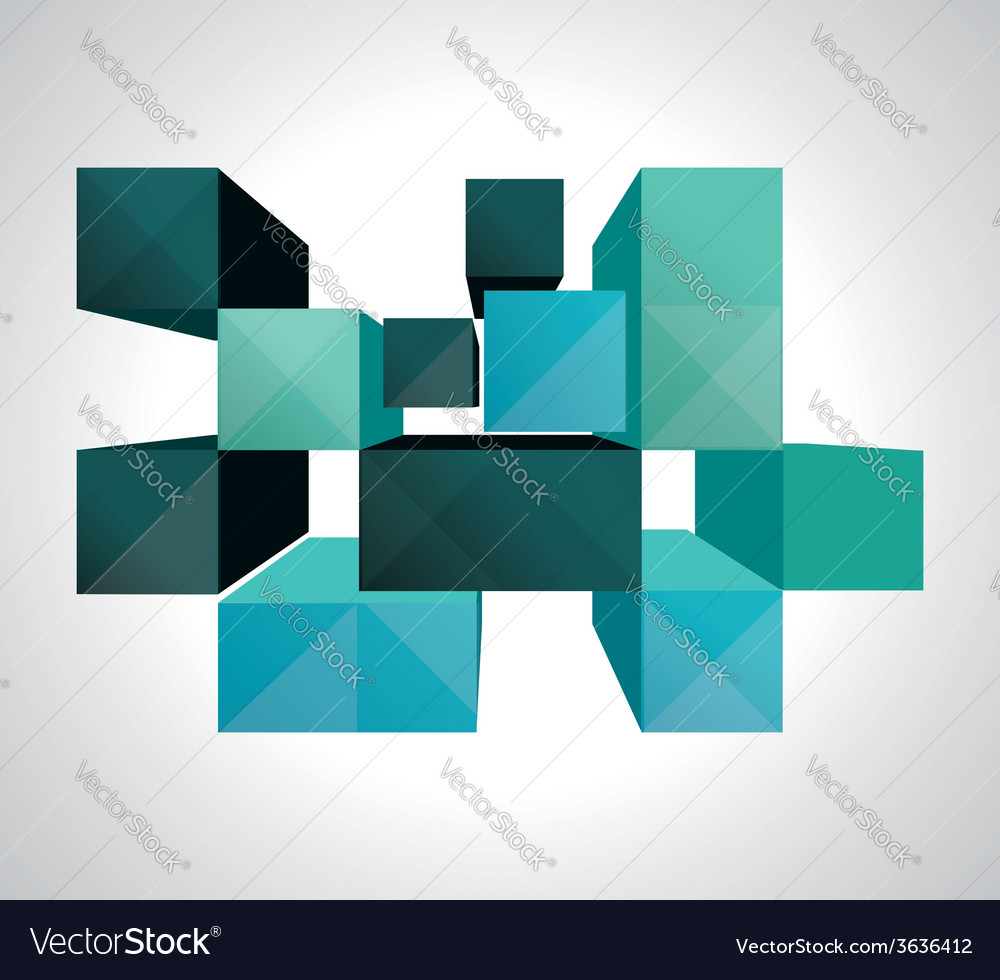 Colorful 3d cubes background - design vector | Price: 1 Credit (USD $1)