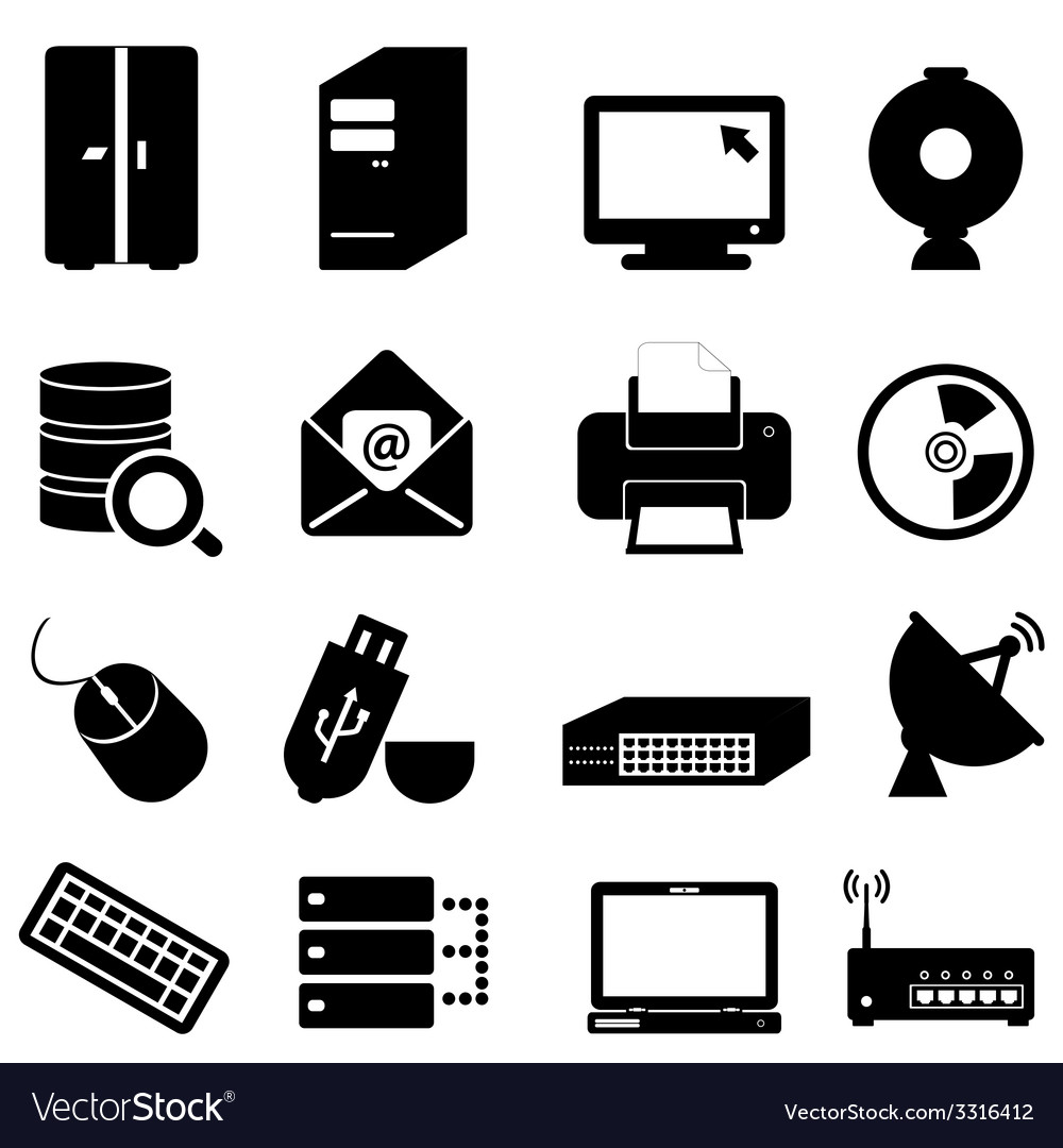 Computer and technology icon set vector | Price: 1 Credit (USD $1)
