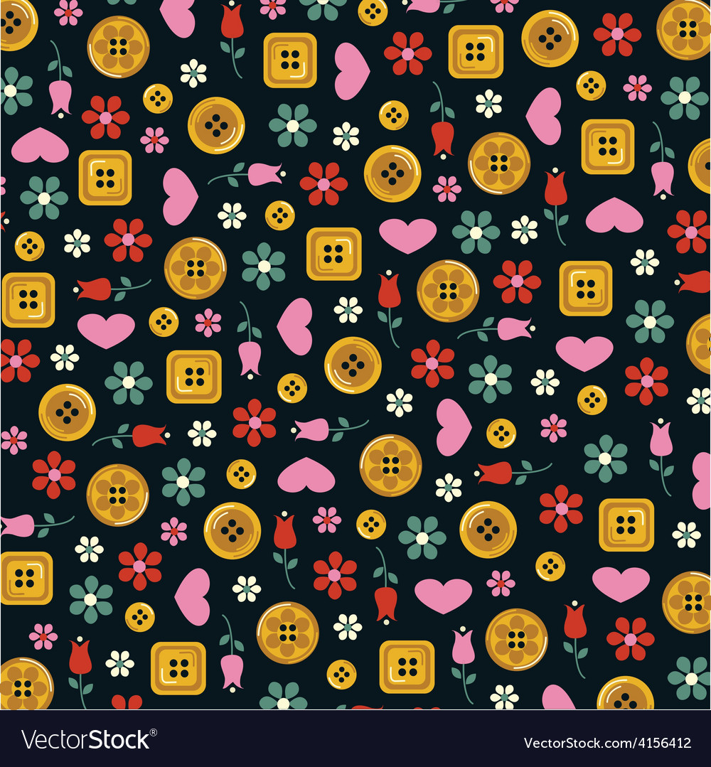 Gold buttons hearts and flowers vector | Price: 1 Credit (USD $1)