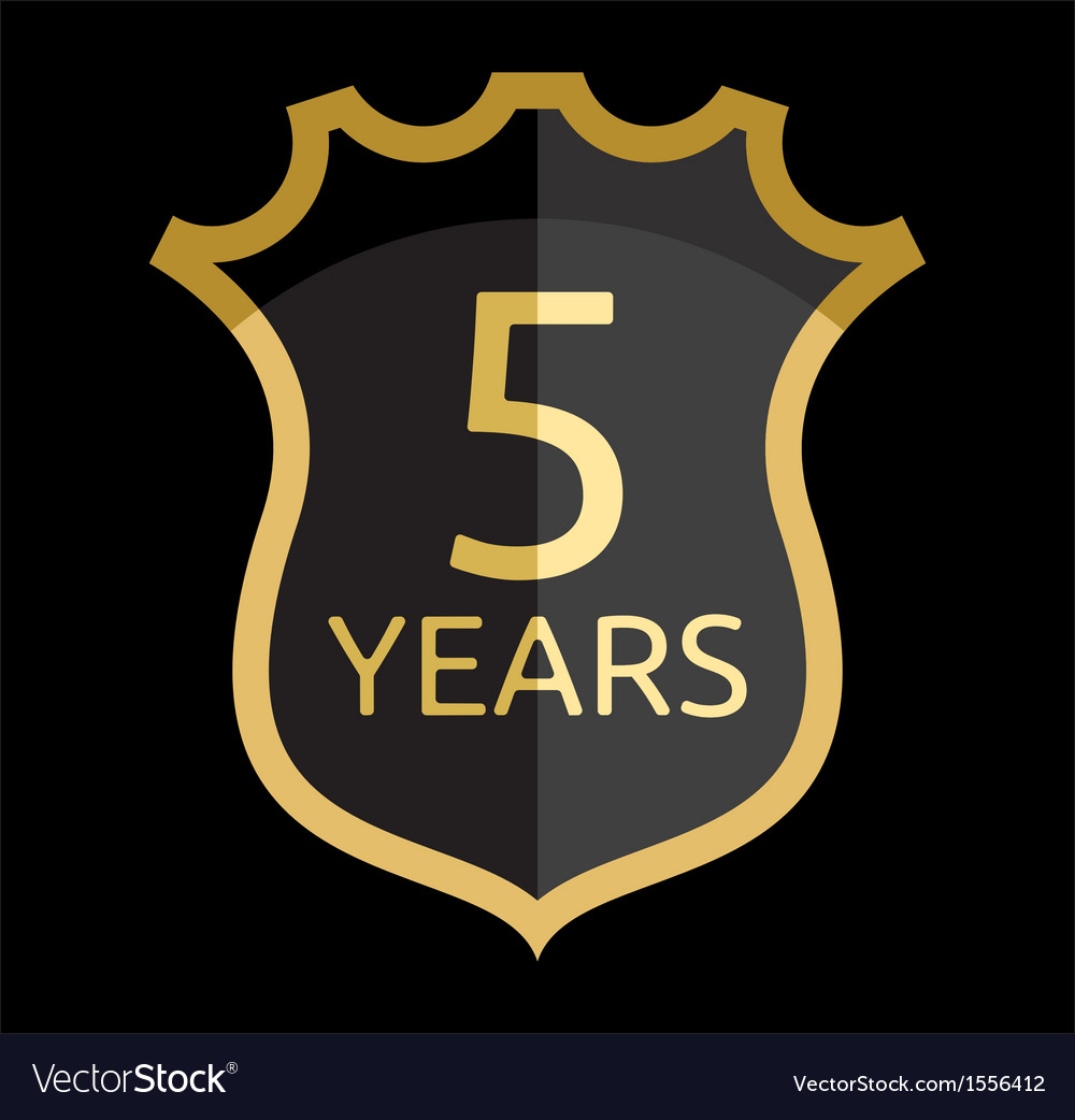 Golden shield 5 years vector | Price: 1 Credit (USD $1)