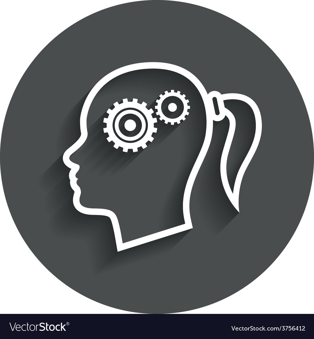 Head with gears sign icon female woman head vector | Price: 1 Credit (USD $1)