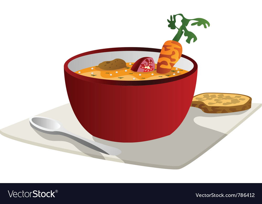 Hot vegetable soup vector | Price: 1 Credit (USD $1)