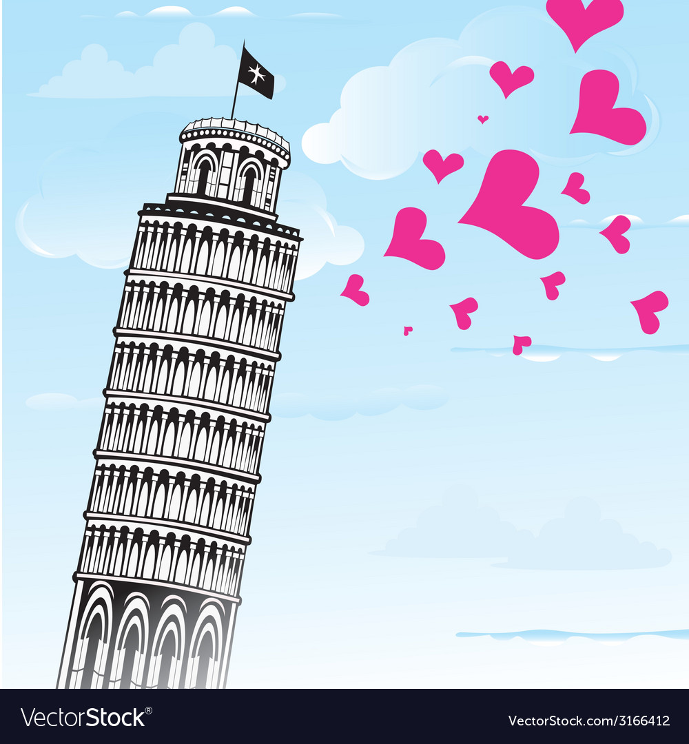 Love to italy pisa tower vector | Price: 1 Credit (USD $1)