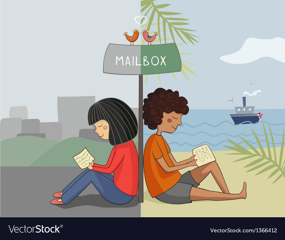Multicultural girl and boy read mail vector | Price: 3 Credit (USD $3)