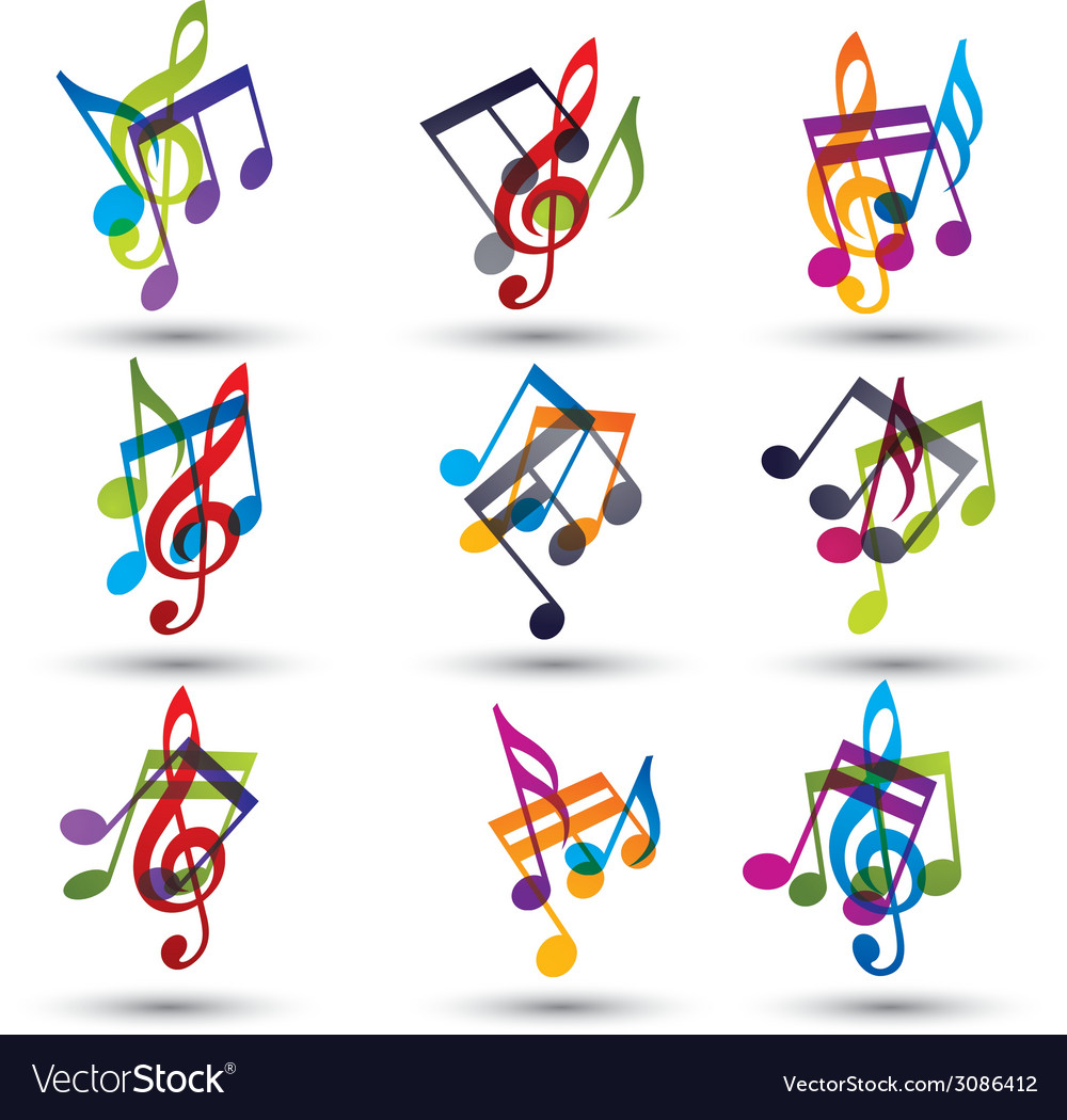 Musical notes abstract icons set vector | Price: 1 Credit (USD $1)
