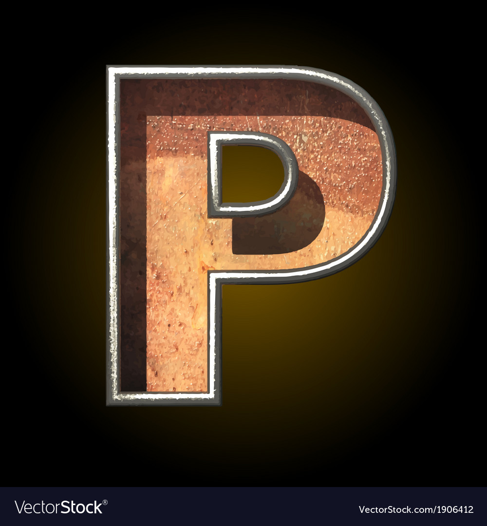 Old metal letter p vector | Price: 1 Credit (USD $1)