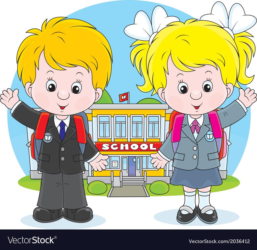 Schoolchildren before a school vector | Price: 1 Credit (USD $1)