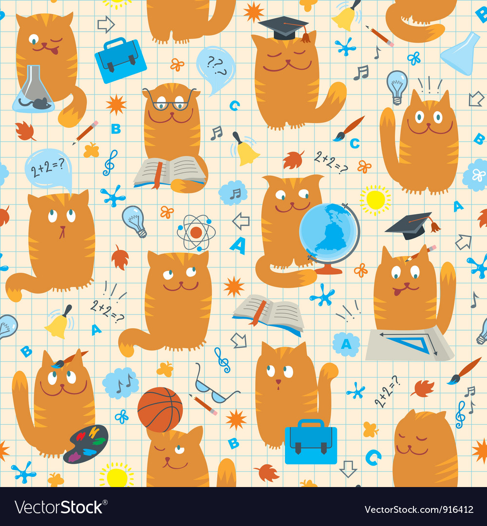 Seamless pattern cats vector | Price:  Credit (USD $)