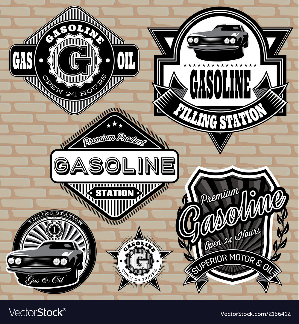 Set of labels on the topic gasoline vector | Price: 1 Credit (USD $1)