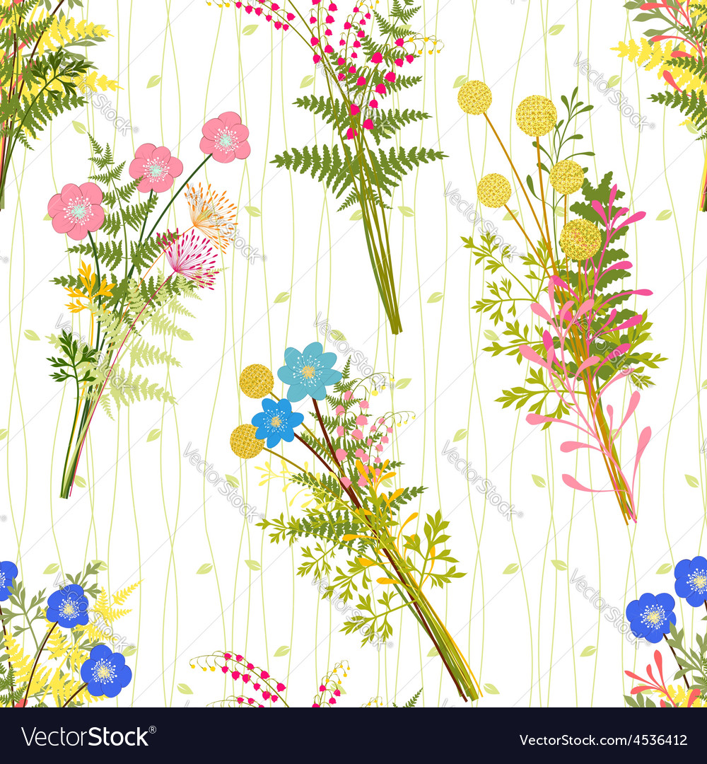 Springtime colorful flower with wild grass pattern vector | Price: 1 Credit (USD $1)