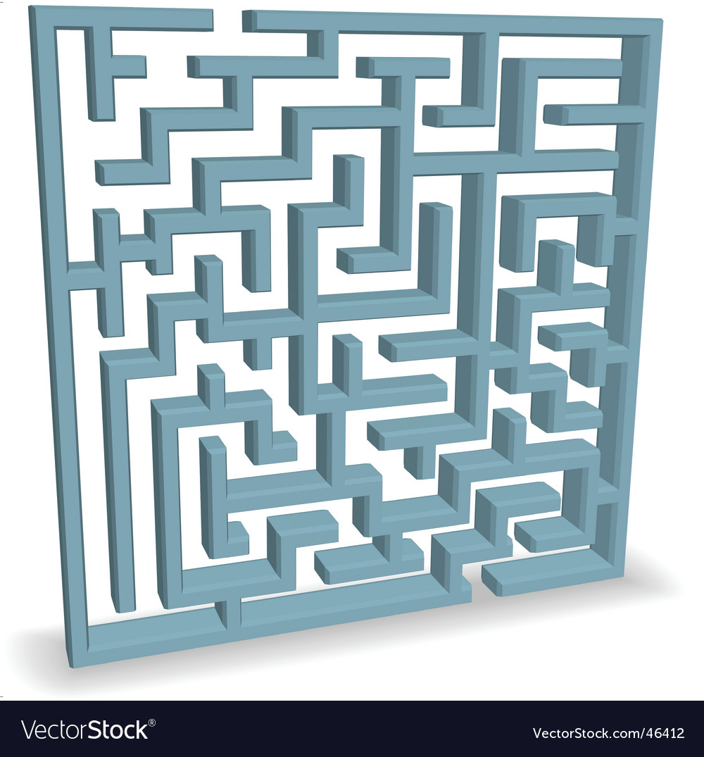 Upright blue maze vector | Price: 1 Credit (USD $1)