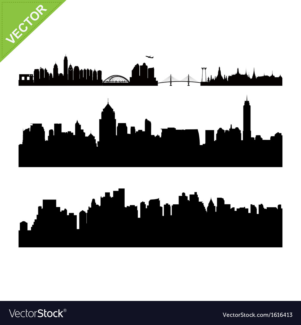 Bangkok landmark and skyline silhouettes vector | Price: 1 Credit (USD $1)