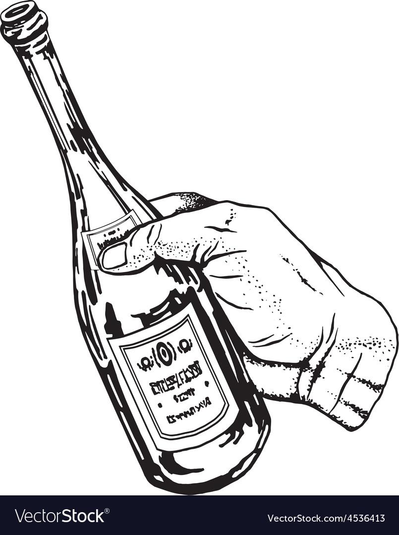 Bottle of wine in hand vector | Price: 1 Credit (USD $1)
