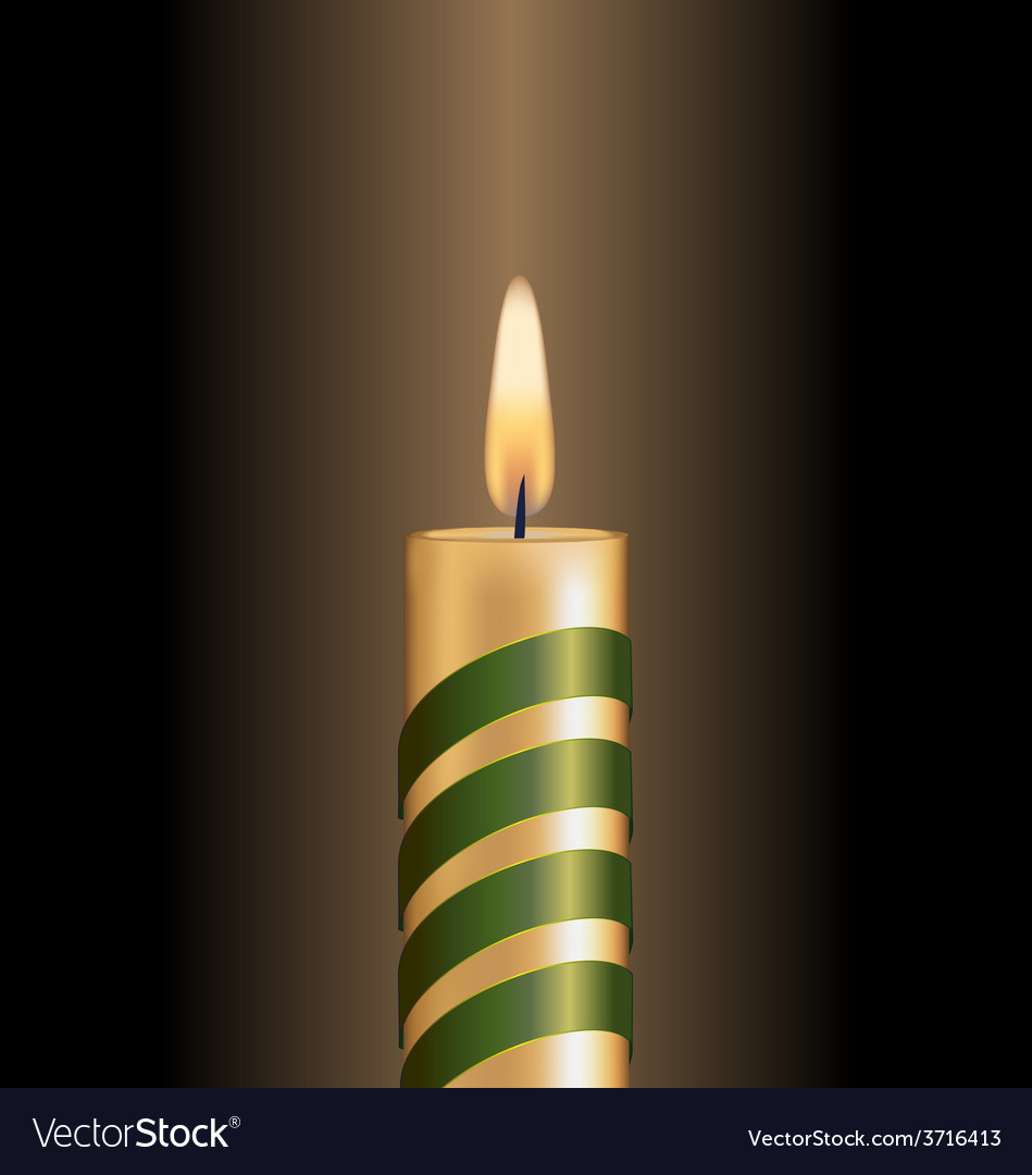 Candle with green spiral tape on brown vector | Price: 1 Credit (USD $1)