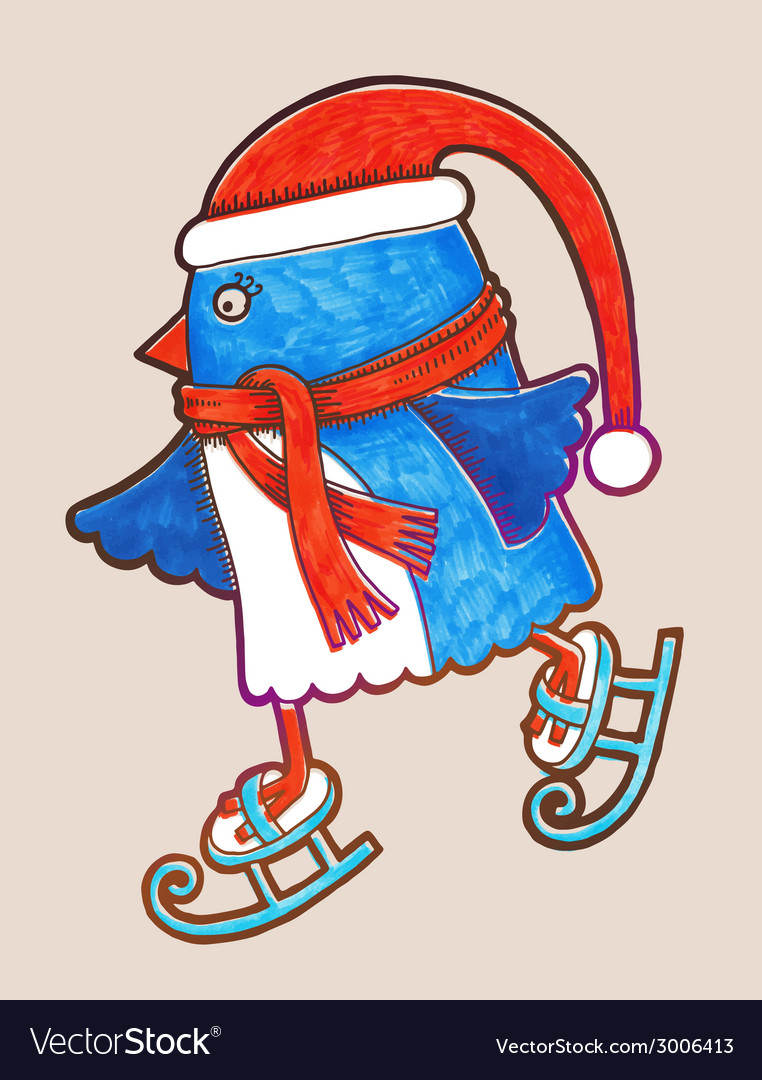 Doodle penguin ice skating marker  merry christmas vector | Price: 1 Credit (USD $1)