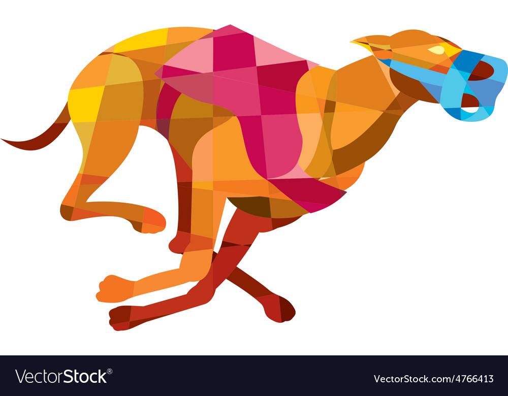 Greyhound dog racing low polygon vector | Price: 1 Credit (USD $1)