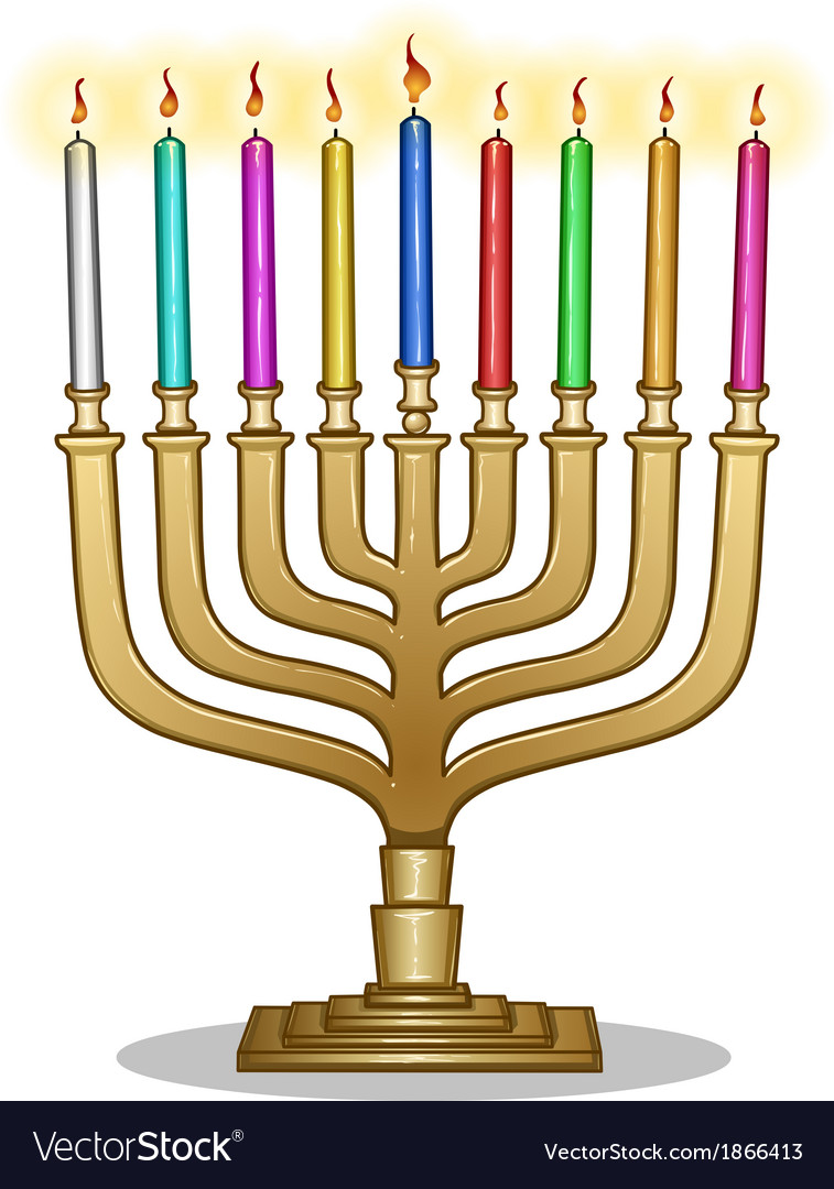Hanukkah lamp hanukkiah vector | Price: 1 Credit (USD $1)