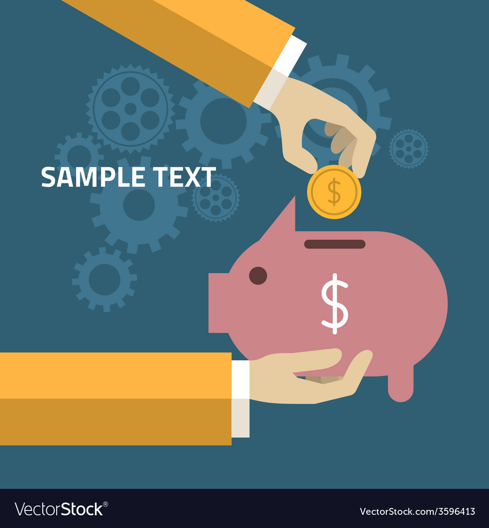 Human hand and moneybox piggy in flat design style vector   Price: 1 Credit (USD $1)