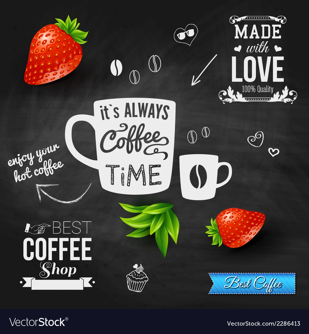 It is coffee time chalkboard background realistic vector | Price: 1 Credit (USD $1)