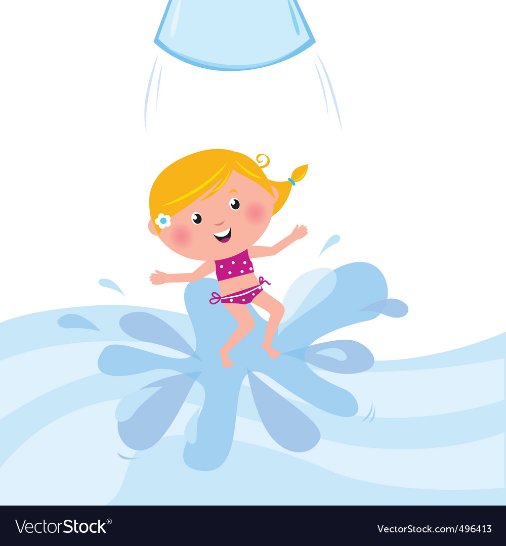 Kid jumping from water tube vector | Price: 1 Credit (USD $1)