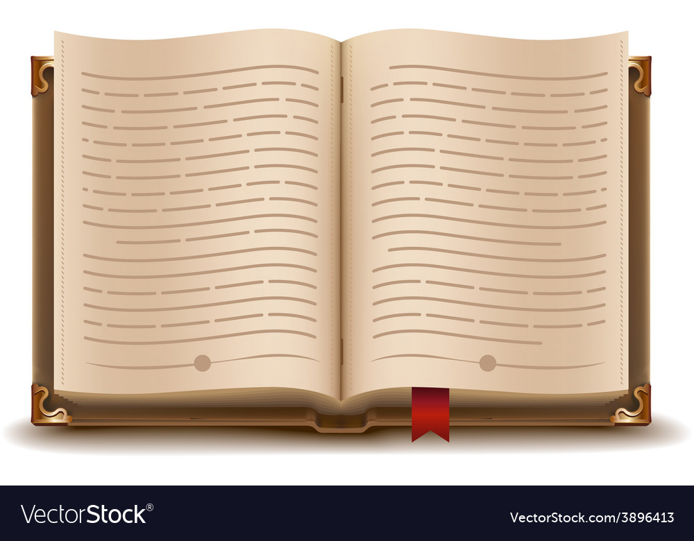 Open book with text and red bookmark vector | Price: 3 Credit (USD $3)