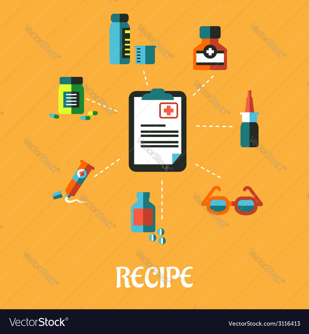 Poster with prescription and flat medical icons vector | Price: 1 Credit (USD $1)