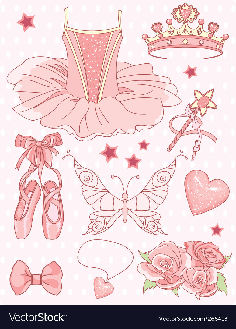 Princess ballerina set vector | Price: 3 Credit (USD $3)