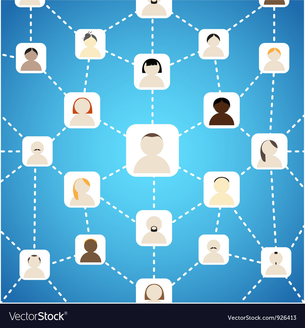 Scheme of social network on blue vector | Price: 1 Credit (USD $1)