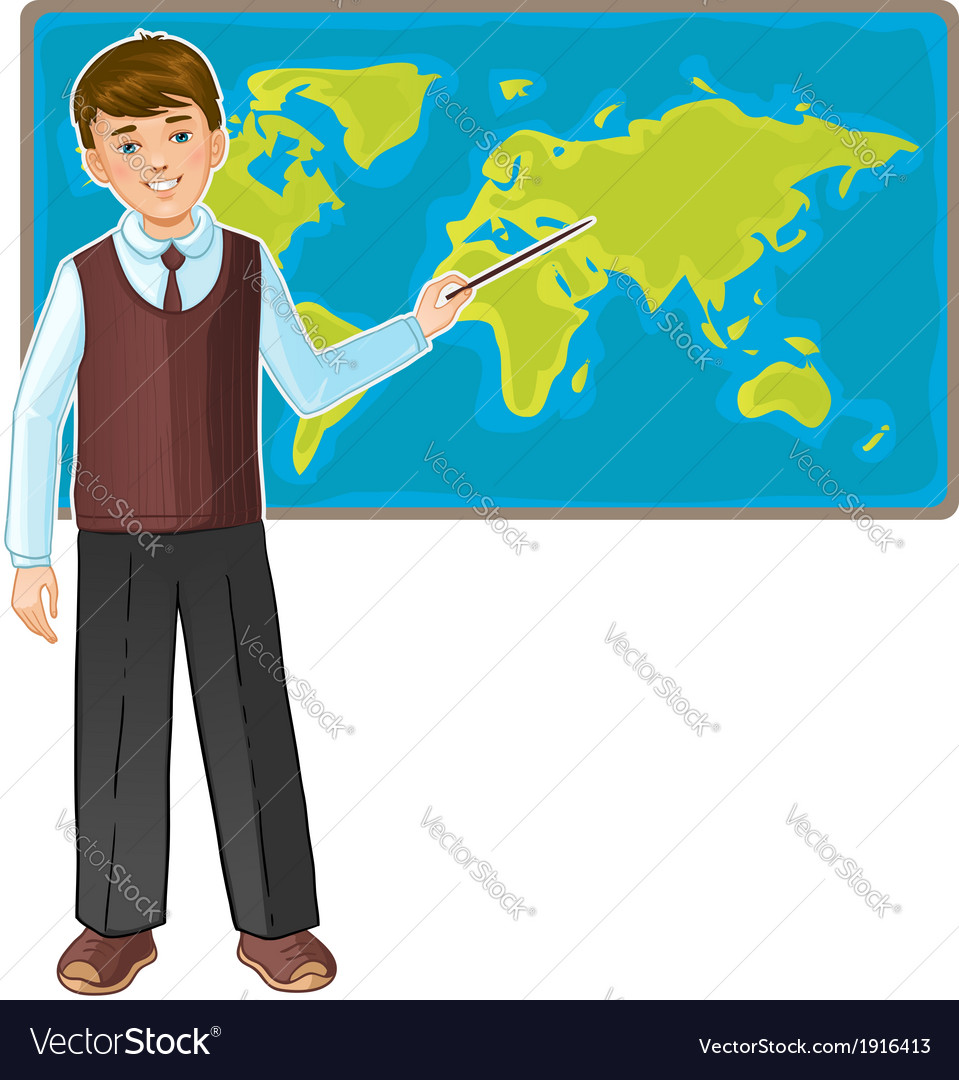Schoolboy at map of the world eps10 vector | Price: 3 Credit (USD $3)