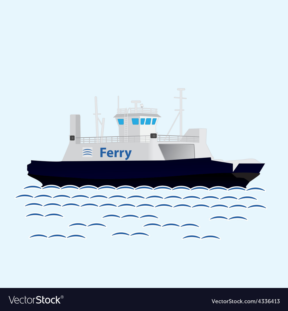 Sea train ferry boat big ship vector | Price: 1 Credit (USD $1)