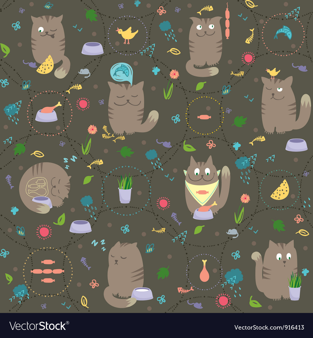 Seamless pattern cats with foods vector | Price: 1 Credit (USD $1)