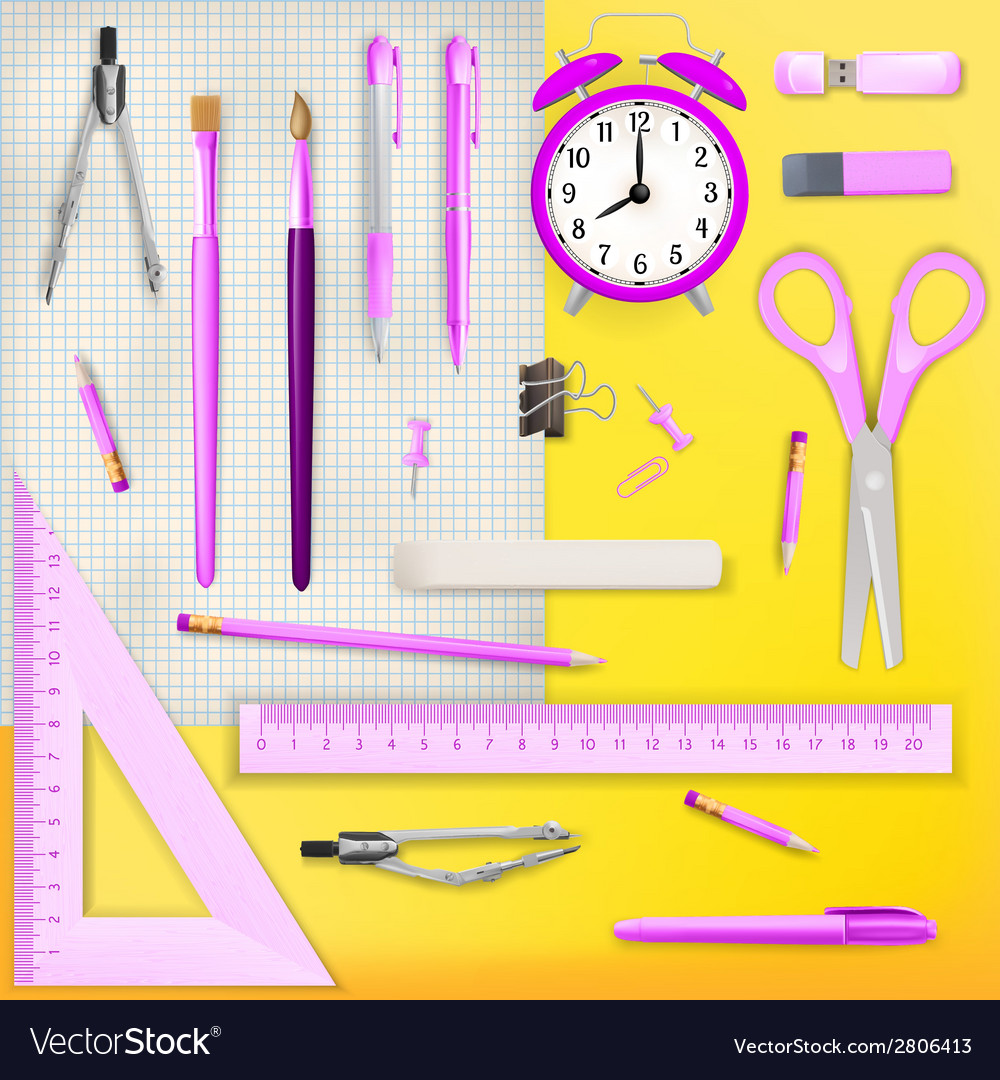 Set of colored school supplies background eps 10 vector | Price: 1 Credit (USD $1)