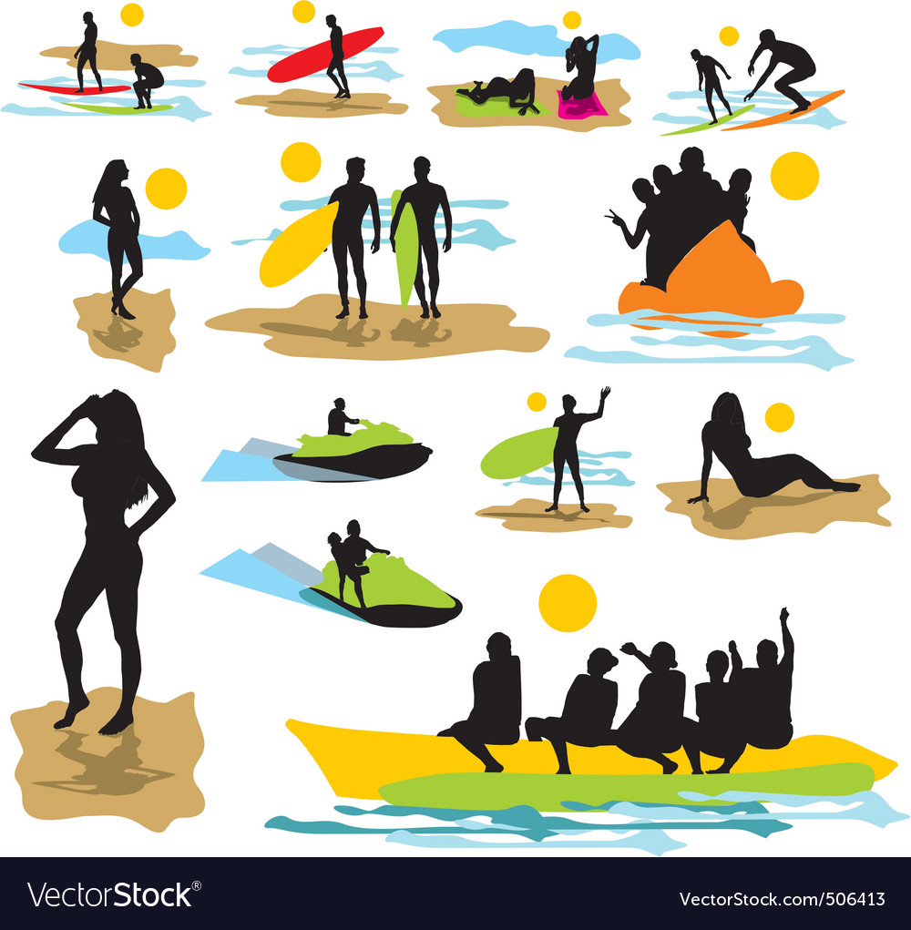Set silhouettes on the beach vector | Price: 1 Credit (USD $1)
