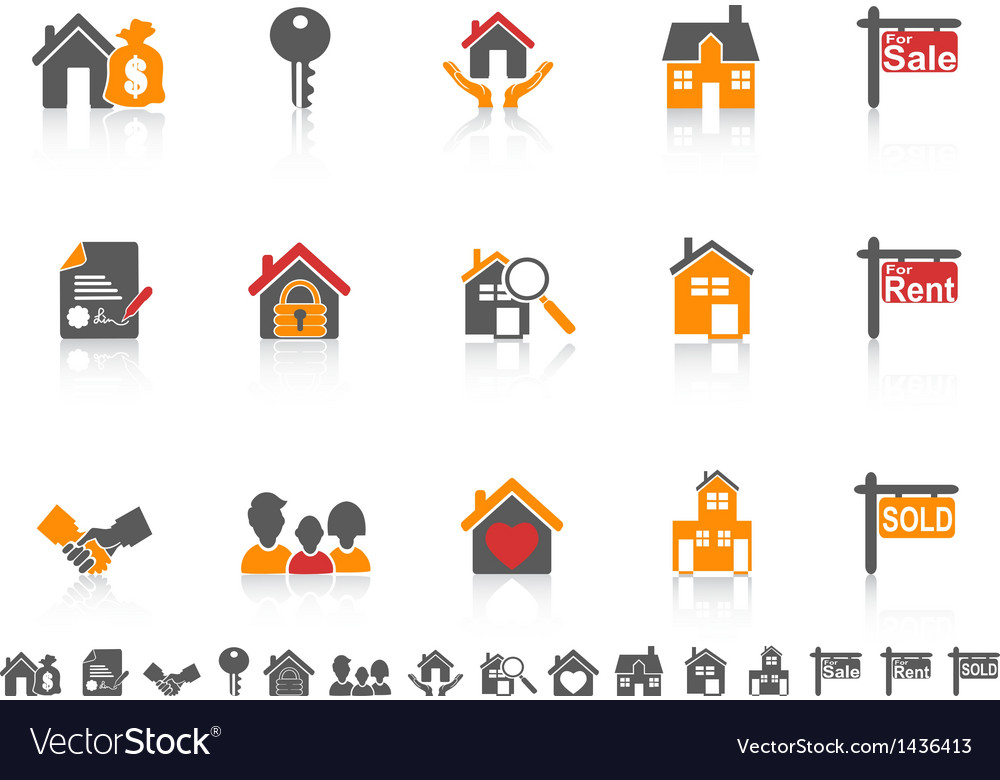 Simple color real estate icon set vector | Price: 1 Credit (USD $1)