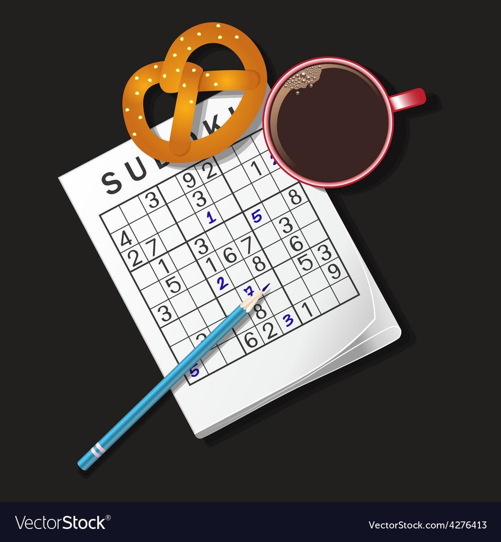 Sudoku coffee vector | Price: 1 Credit (USD $1)