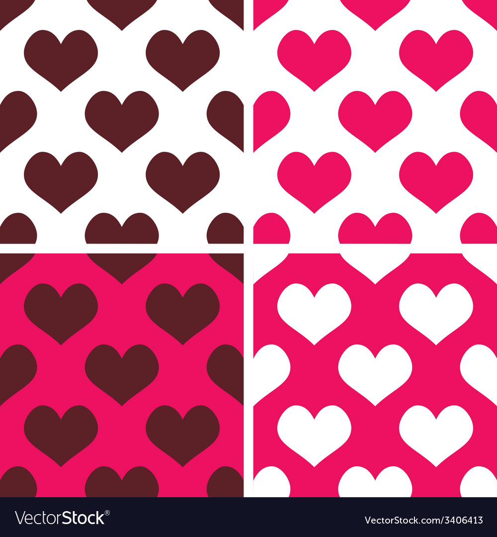 Tile pattern set with pink and brown hearts vector | Price: 1 Credit (USD $1)