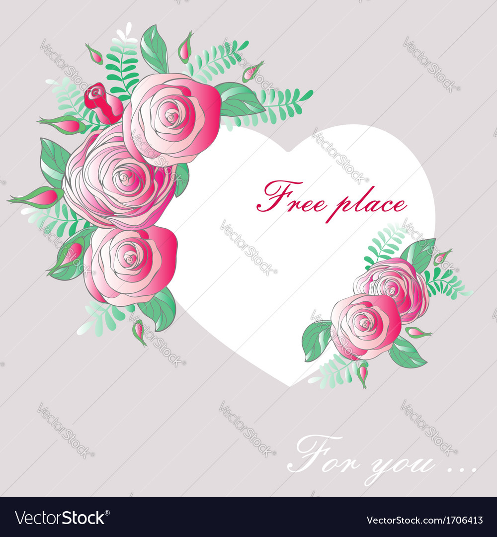 Vignette heart of flowers vector | Price: 1 Credit (USD $1)
