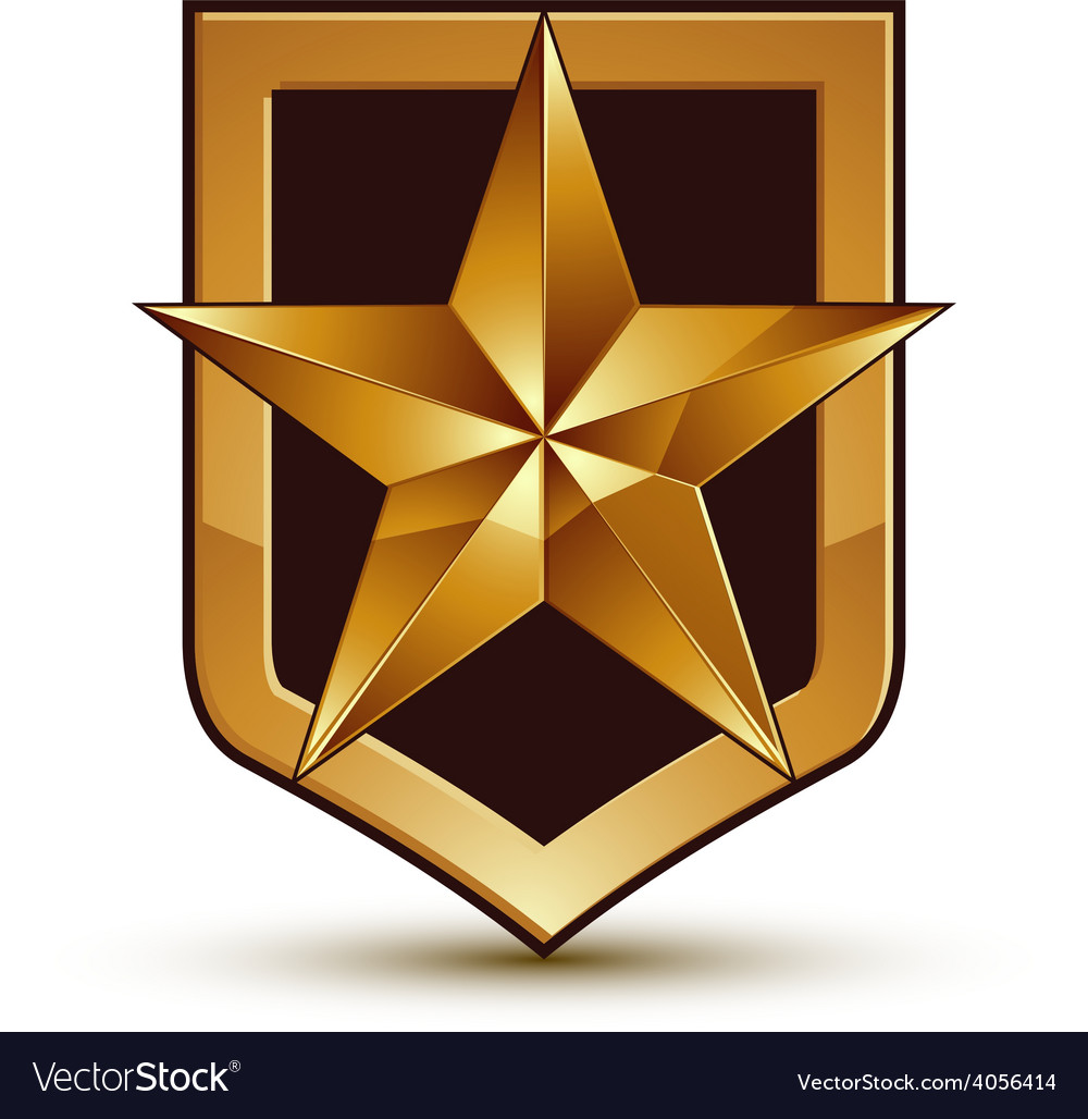 3d heraldic template with pentagonal golden star vector | Price: 1 Credit (USD $1)
