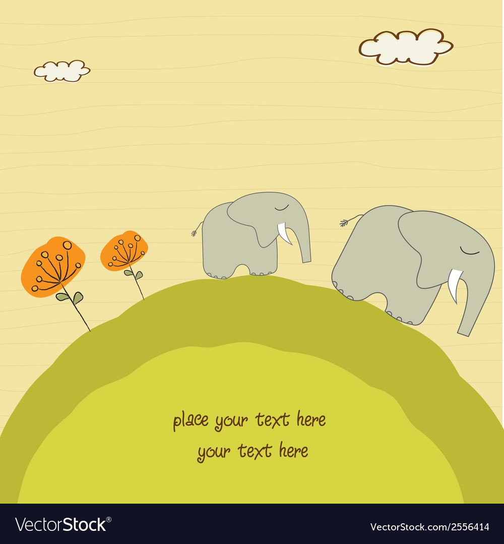 Baby elephant and his mother vector | Price: 1 Credit (USD $1)