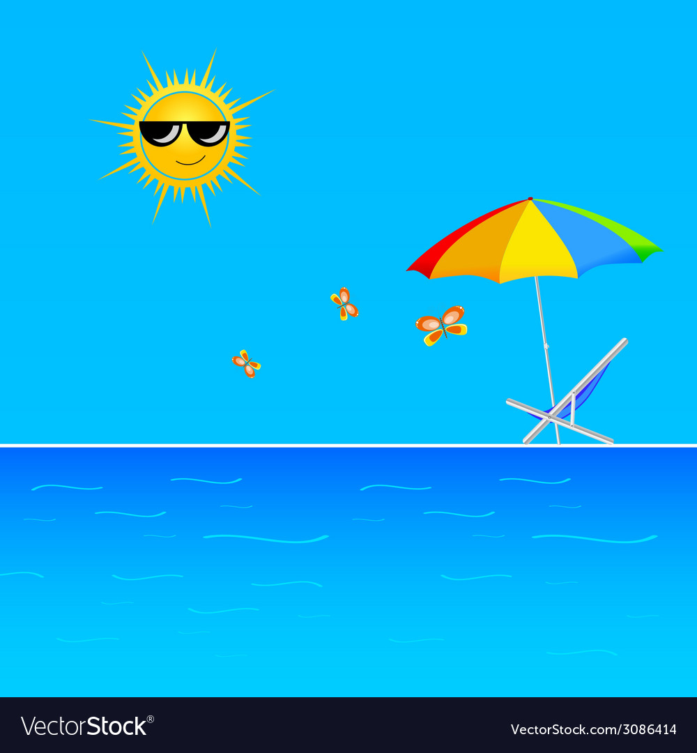 Beach with butterfly vector | Price: 1 Credit (USD $1)