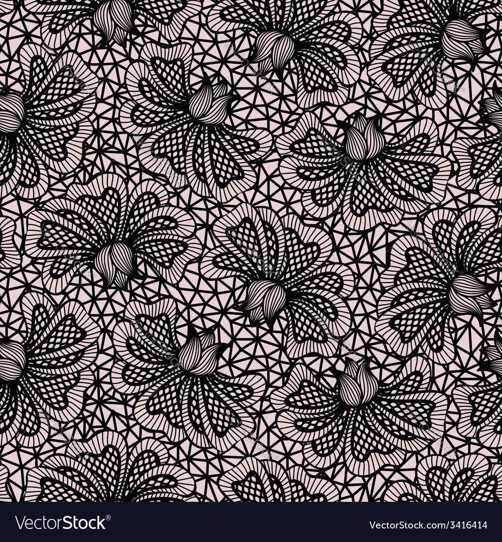 Black seamless flower lace pattern vector | Price: 1 Credit (USD $1)